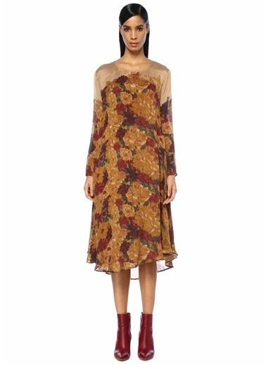 Mes Demoiselles Çiçek Baskılı Asimetrik İpek Midi Elbise Renkli